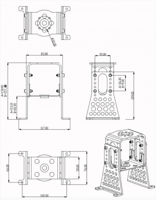 A60-Alu-Motormount-Set complete