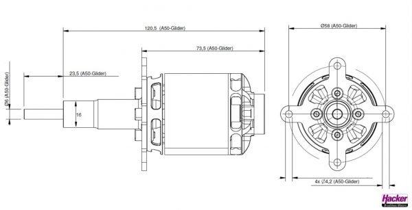Hacker A50 12-L Glider kv355 brushless motor construction drawing
