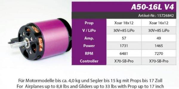 Hacker A50 16L V4 kv265 brushless motor application example