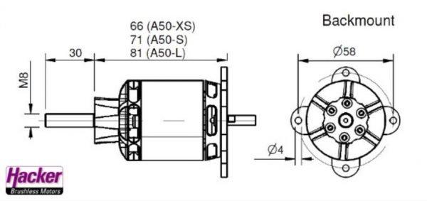 Hacker A50 16L V4 kv265 brushless motor construction drawing backmount