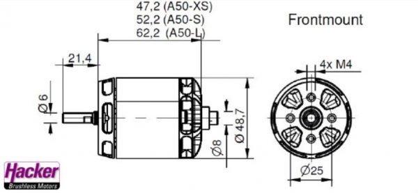 Hacker A50 16L V4 kv265 brushless motor construction drawing frontmount