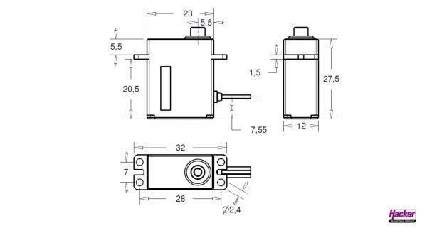 Hacker DITEX EL0510M digital servo construction drawing