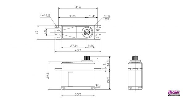 Hacker DITEX EL0809MD digital servo construction drawing