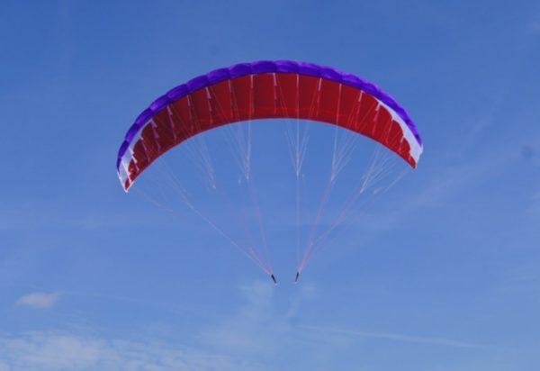Para-RC 4.5 purple red and white paraglider in flight